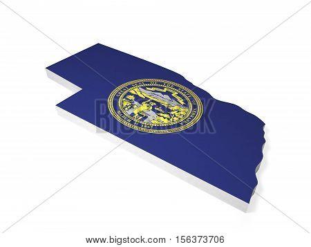 American state Nebraska 3D shape and flag