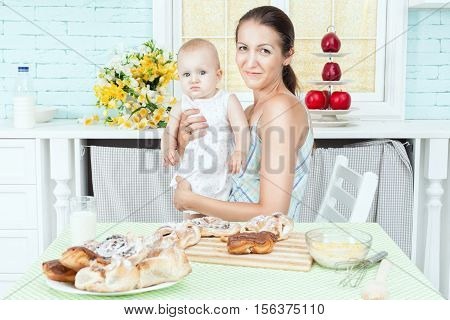 On the kitchen table mother and child.