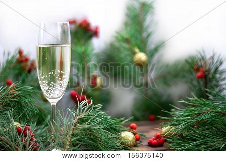 Christmas Composition, Champaign Glass, Pine Branches, Red Rowan, Golden Balls