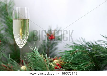 Christmas Composition, Champaign, Pine Branches, Red Rowan, Golden Balls