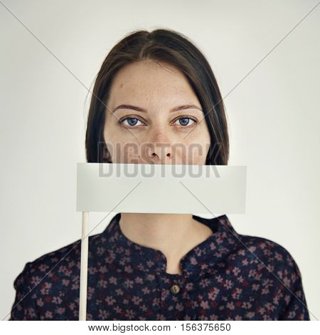 Woman Voiceless Covering Mouth Speechless Concept