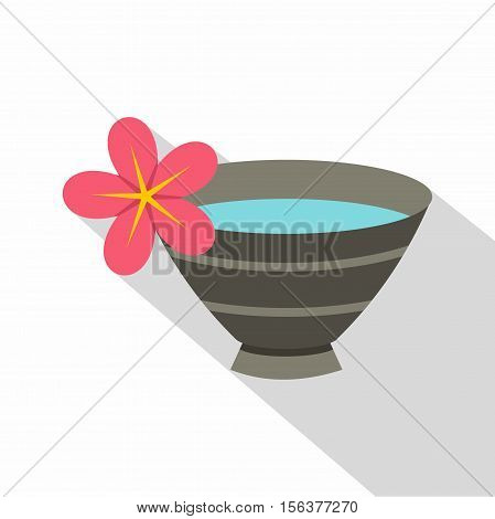 Bowl with water for spa icon. Flat illustration of water for spa vector icon for web design