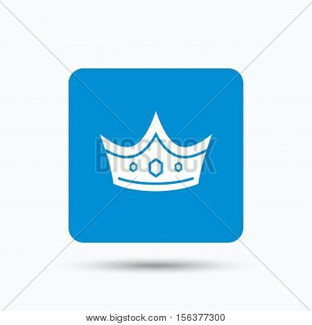 Crown icon. Royal throne leader symbol. Blue square button with flat web icon. Vector