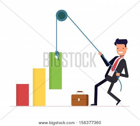 Concept of financial growth. Businessman or manager pulls the rope rising income. Smiling man in a business suit. Vector, illustration EPS10.