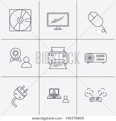 Monitor, printer and wi-fi router icons. Video chat, electric plug and pc mouse linear signs. Projector, hard disk icons. Linear icons on white background. Vector