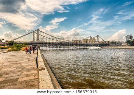 View Over Moskva River And Krymsky Bridge, Moscow, Russia