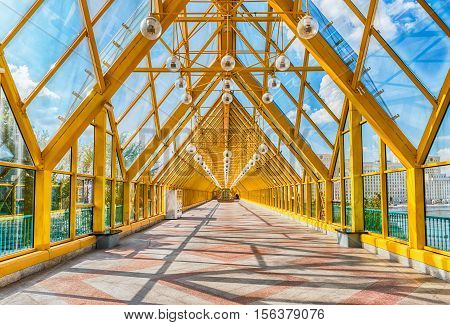 Walking Inside Pushkinsky Pedestrian Covered Bridge In Central Moscow, Russia