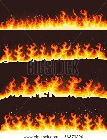 Horizontal flames vector banner illustration set in cartoon style