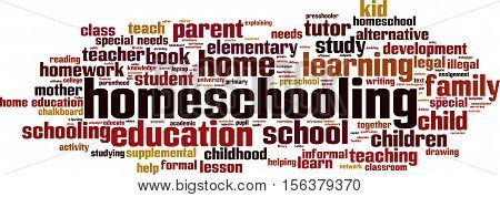 Homeschooling word cloud concept. Vector illustration on white