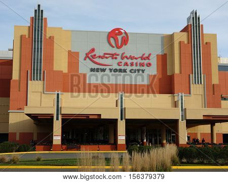 JAMAICA, NEW YORK - NOVEMBER 10, 2016: Resorts World Casino in Jamaica, New York. JFK-airport-area casino featuring slots, table games, a buffet, food court and bars