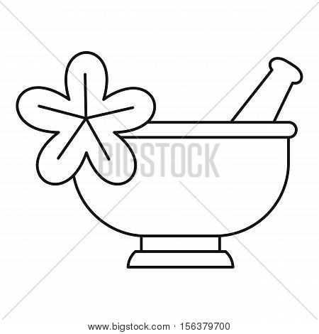 Mortar and pestle pharmacy icon. Outline illustration of mortar and pestl vector icon for web design