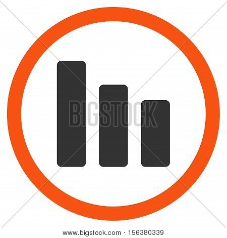 Bar Chart Decrease vector bicolor rounded icon. Image style is a flat icon symbol inside a circle, orange and gray colors, white background.