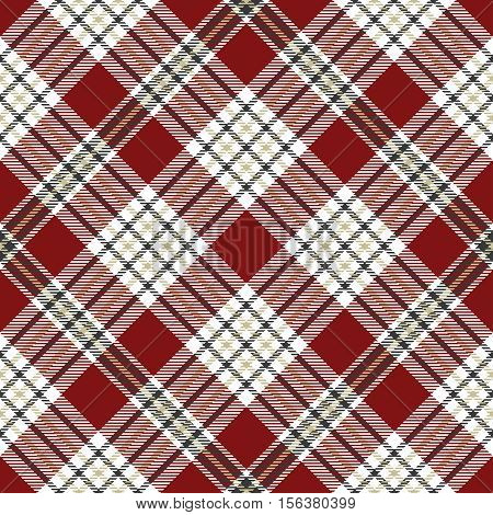 Seamless tartan plaid pattern in gray, beige, white & red. Traditional checkered design print. Plaid fabric texture background.