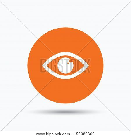 Eye icon. Eyeball vision symbol. Orange circle button with flat web icon. Vector