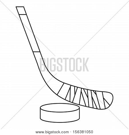 Stick and puck icon. Outline illustration of stick and puck vector icon for web