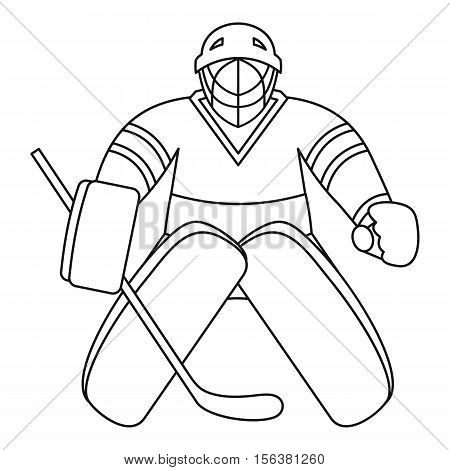 Hockey goalkeeper icon. Outline illustration of hockey goalkeeper vector icon for web