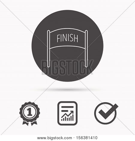 Finish banner icon. Marathon checkpoint sign. Report document, winner award and tick. Round circle button with icon. Vector