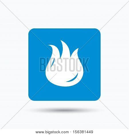 Fire icon. Blazing bonfire flame symbol. Blue square button with flat web icon. Vector