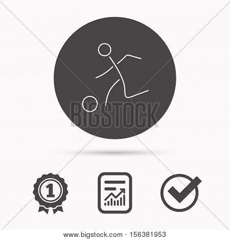 Football icon. Soccer sport sign. Team goal game symbol. Report document, winner award and tick. Round circle button with icon. Vector