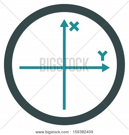 Cartesian Axis vector bicolor rounded icon. Image style is a flat icon symbol inside a circle, soft blue colors, white background.