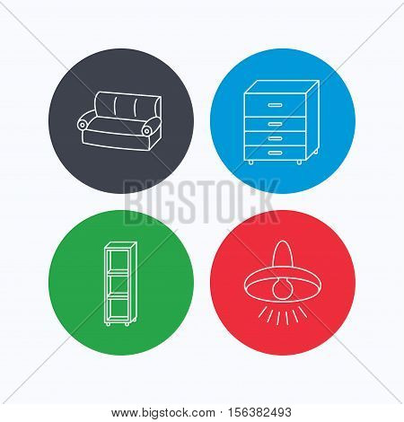 Sofa, ceiling lamp and shelving icons. Chest of drawers linear sign. Linear icons on colored buttons. Flat web symbols. Vector