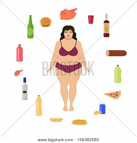Vector illustration cartoon fat woman and unhealthy food. Girl and harmful, junk nutrition. Concept of human unhealthy lifestyle, female obesity. Flat style. Female body and alcohol, fatty fast food.