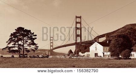 Golden Gate Bridge panorama in San Francisco as the famous landmark.