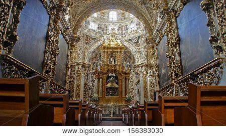 Interior view of Chapel of the Rosary (Capilla del Rosario). It is an example of New Spanish Baroque, considered in its time to be the