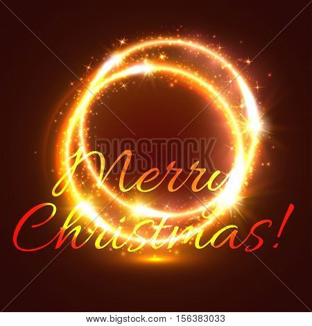 Glowing round frame with shining swirl of golden light Christmas festive greeting card. Shining Xmas star and glittering spark double ring for winter holidays theme design
