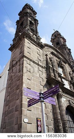 Church of San Cristóbal (Templo de San Cristóbal ) in Puebla Mexico. It is a Catholic church built in 1676-1687 and is characterized as