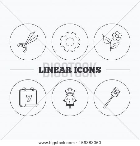 Scissors, flower and pitchfork icons. Scarecrow linear sign. Flat cogwheel and calendar symbols. Linear icons in circle buttons. Vector
