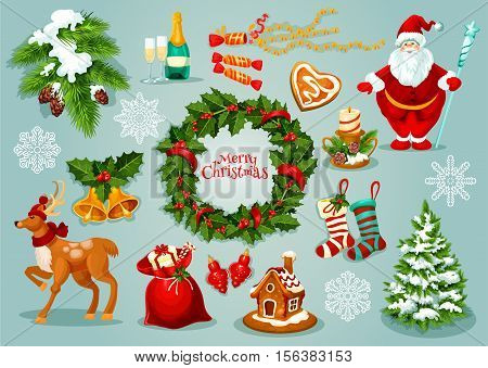 Christmas Day holiday celebration icon set with xmas holly wreath, Santa Claus, gift box in bag, candy, snowflake, pine tree, bell, stocking sock, bauble, candle, gingerbread house, deer and champagne