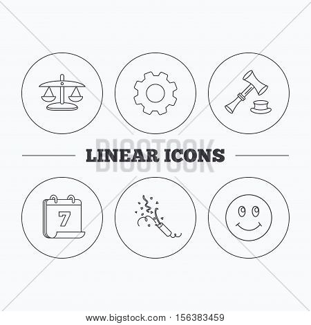 Scales of justice, auction hammer and slapstick icons. Smiling face linear sign. Flat cogwheel and calendar symbols. Linear icons in circle buttons. Vector