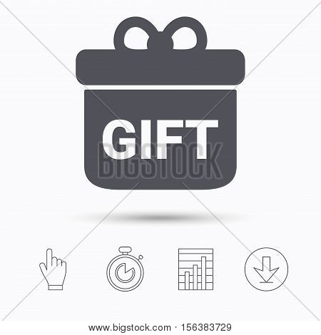 Gift icon. Present box with bow symbol. Stopwatch timer. Hand click, report chart and download arrow. Linear icons. Vector