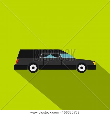Hearse icon. Flat illustration of hearse vector icon for web