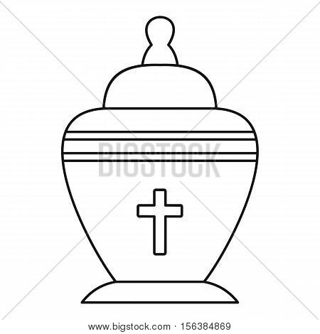 Urn icon. Outline illustration of urn vector icon for web