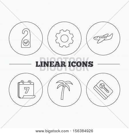 Palm tree, air-plane and e-key icons. Clean room linear sign. Flat cogwheel and calendar symbols. Linear icons in circle buttons. Vector