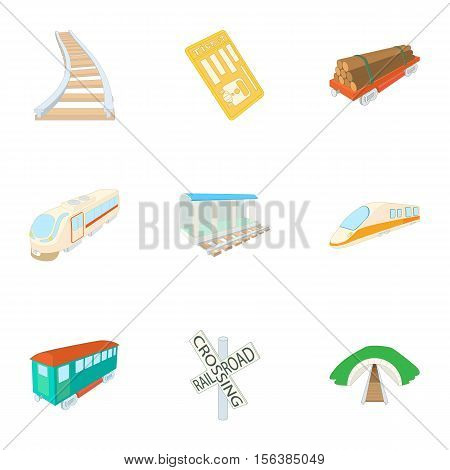 Electric train icons set. Cartoon illustration of 9 electric train vector icons for web