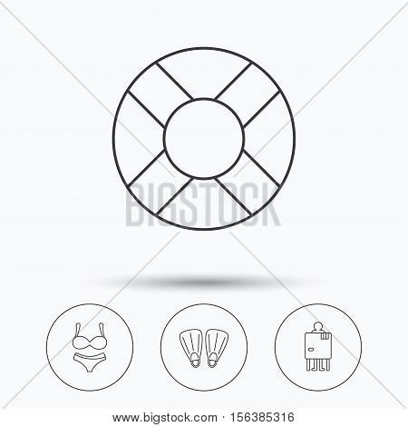 Lifebuoy, lingerie and flippers icons. Changing cabin linear sign. Linear icons in circle buttons. Flat web symbols. Vector
