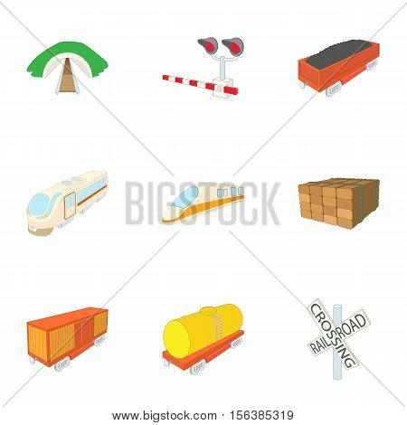 Railway transport icons set. Cartoon illustration of 9 railway transport vector icons for web