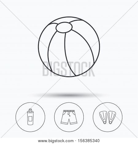 Flippers, swimming ball and trunks icons. Shampoo bottle linear sign. Linear icons in circle buttons. Flat web symbols. Vector