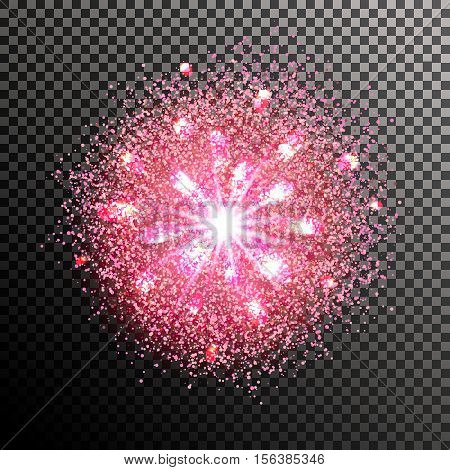 Cloud of dust and light. Explosion of supernova. Bright cosmic pink fire. Glowing space. Bundle of energy. Burst, fireworks, holiday. Isolated vector element for web design. Vector illustration EPS 10