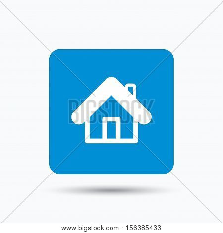 Home icon. House building symbol. Real estate construction. Blue square button with flat web icon. Vector