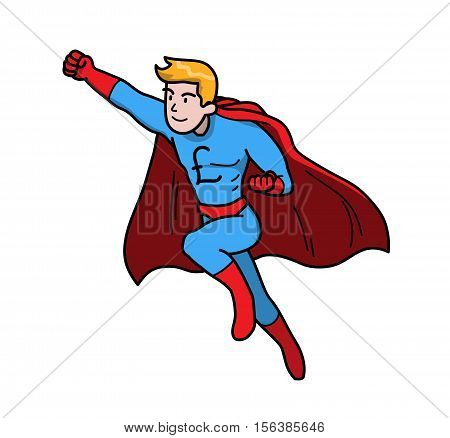 The Power of Money Pound Sterling Finance Business. A hand drawn vector illustration of a super man with Pound Sterling symbol on his chest.