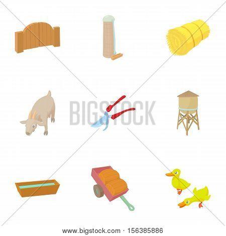 Farmhouse icons set. Cartoon illustration of 9 farmhouse vector icons for web