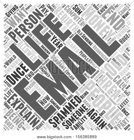 The Rebirth Of An Old Email Threat On Your Life word cloud concept