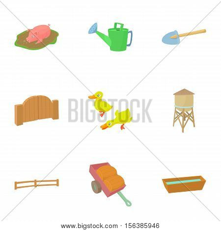 Barnyard icons set. Cartoon illustration of 9 barnyard vector icons for web