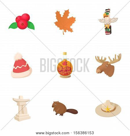 Country Canada icons set. Cartoon illustration of 9 country Canada vector icons for web