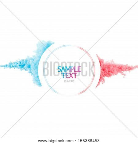 Color paint cloud ink as abstract liquid splash. Color smoke underwater design. Ink swirling in water. Cloud of ink drop in water isolated on white background. Abstract template. Pink and blue.