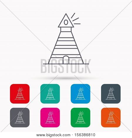 Lighthouse icon. Searchlight signal sign. Coast tower symbol. Linear icons in squares on white background. Flat web symbols. Vector